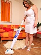 Constance Devil stipping off and playing with vacuum cleaner
