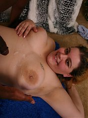 Sassy blonde fatty Drew hooks up with a black guy from across the street and ravishes his dick
