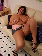 Peaches has a sweet smile and an enormous set of fat knockers and she loves showing it off