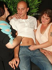 Hot plumpers Mindy and Louise show off their big breasts and take turns on a big dick